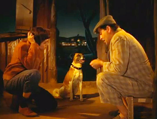 Padmini and Raj Kapoor with Moti the dog in Mera Naam Joker