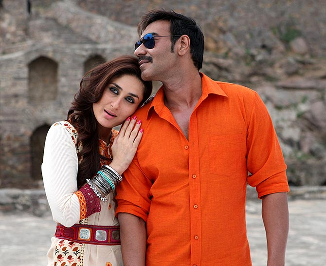 Kareena Kapoor and Ajay Devgn in Singham Returns