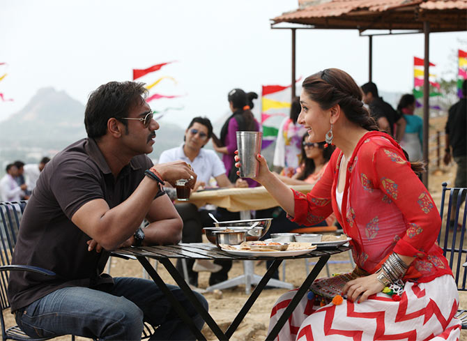 Ajay Devgn and Kareena Kapoor in Singham Returns