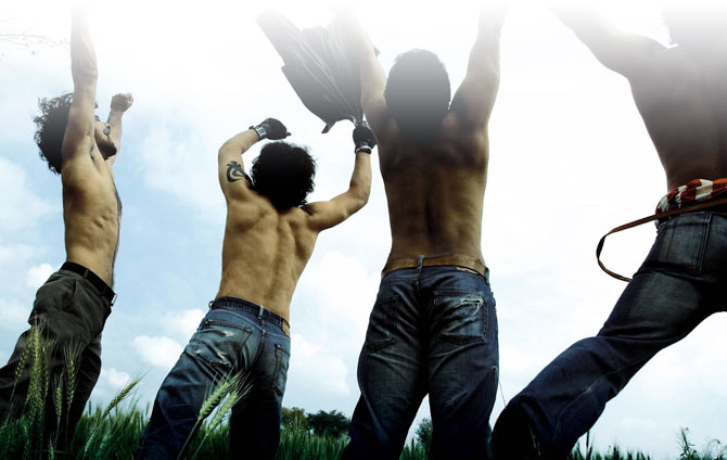 In Rang De Basanti five carefree college students revolt against a heavily corroded 'system'.