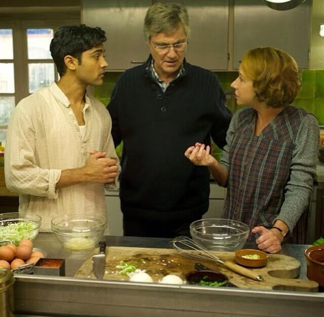 Manish Dayal, Lasse Hallstrom and Helen Mirren on the sets of The Hundred-Foot Journey.