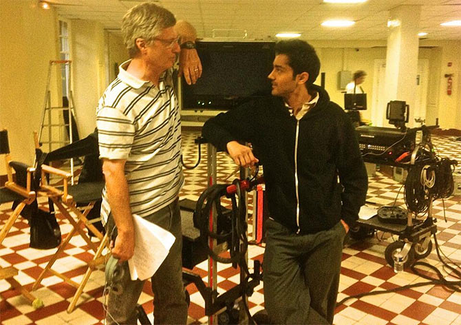 Lasse Hallstrom and Manish Dayal on the sets of The Hundred-Foot Journey.