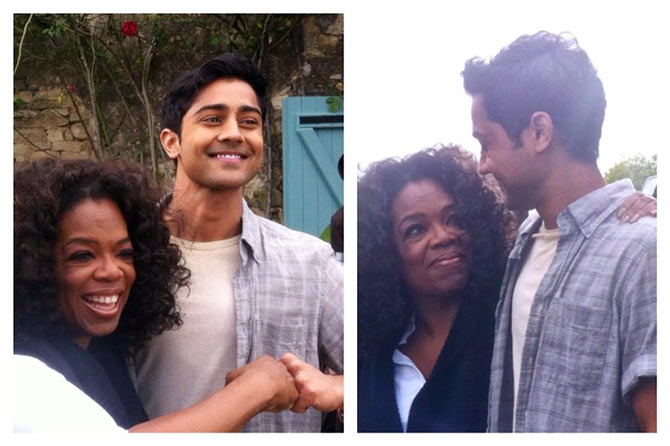 Oprah Winfrey and Manish Dayal.