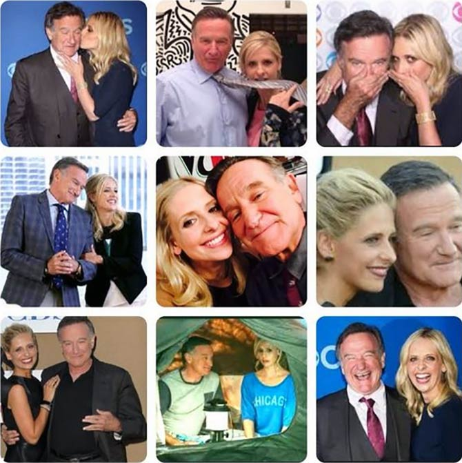 A collage of Sarah Michelle with Robin Williams
