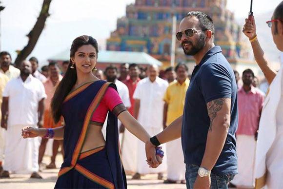 Deepika Padukone and Rohit Shetty on the sets of Chennai Express