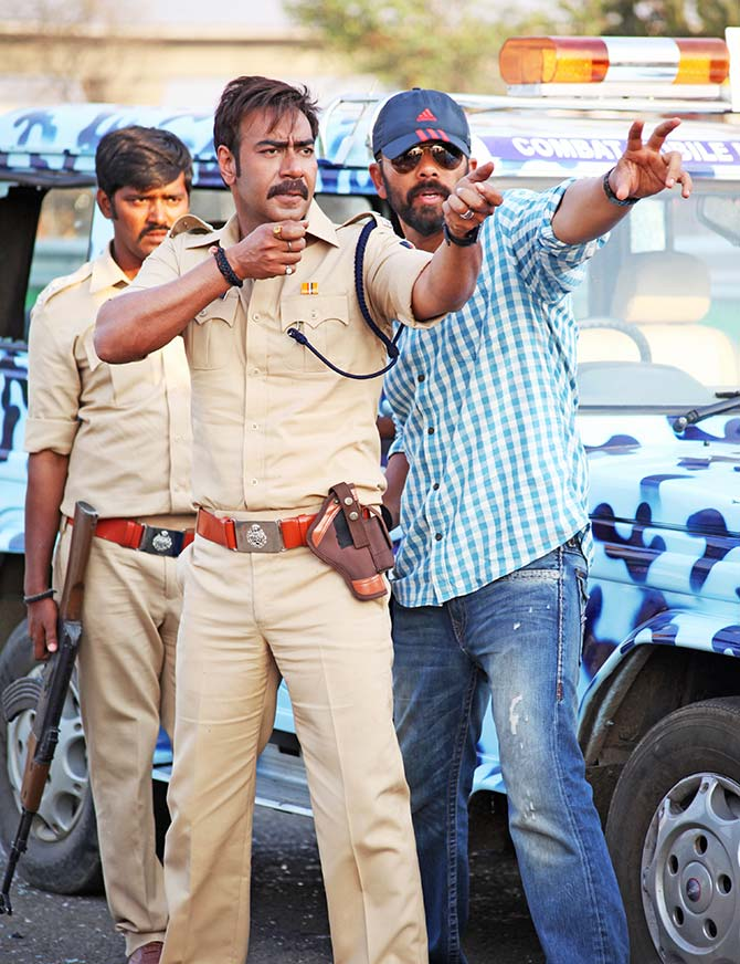 Ajay Devgn and Rohit Shetty on the sets of Singham Returns