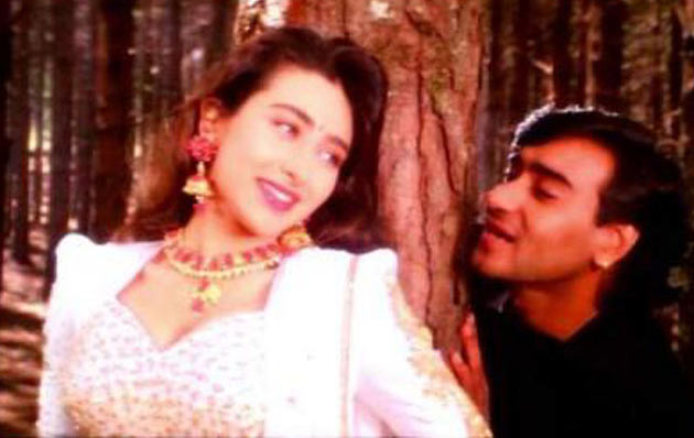 Karisma Kapoor with Ajay Devgn in Suhaag