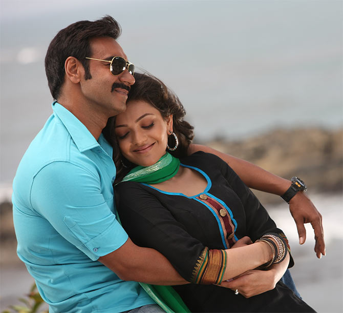 Kajal Aggarwal with Ajay Devgn in Singham
