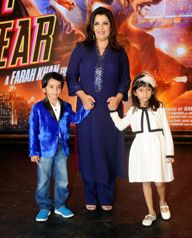 Farah Khan with son Czar and daughter Anya at the trailer launch of Happy New Year