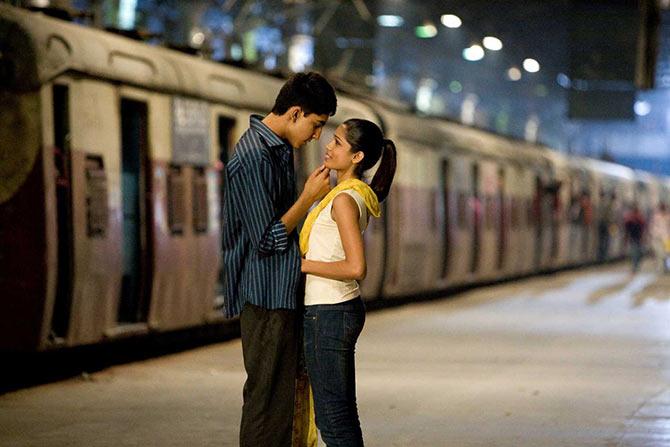 Dev Patel and Freida Pinto in Slumdog Millionaire.