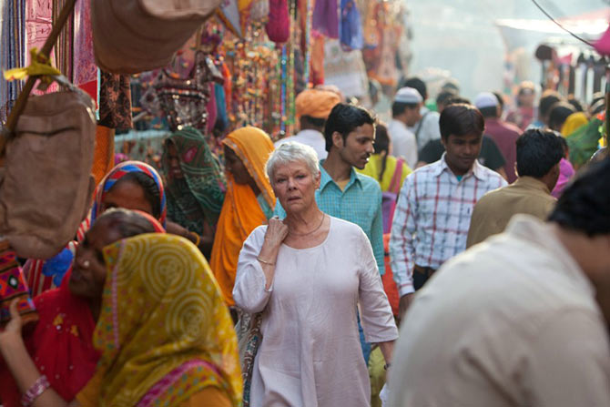 Judi Dench in The Best Exotic Marigold Hotel.