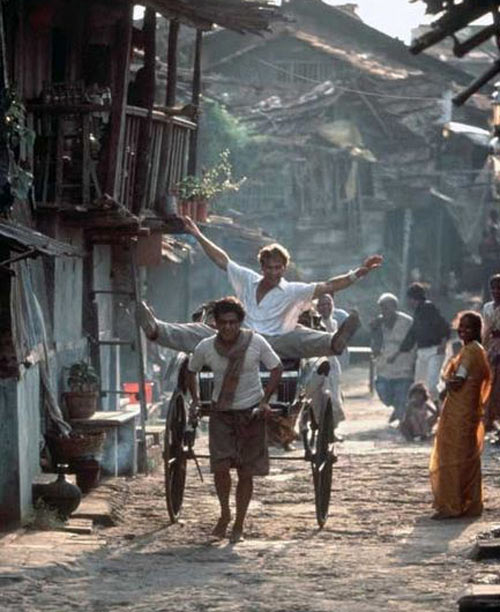 Patrick Swayze and Om Puri in City of Joy.