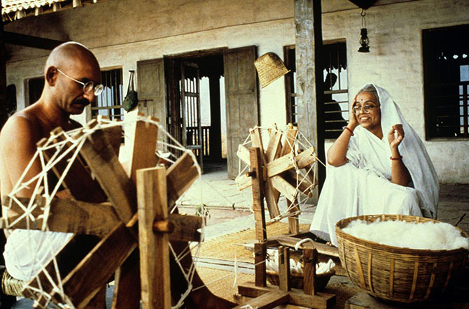Ben Kingsley and Rohini Hattangady in Gandhi.