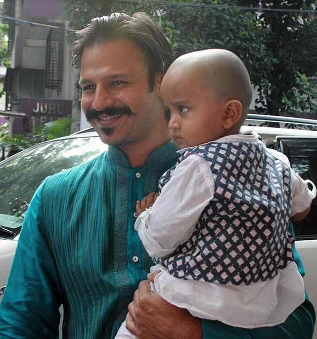 Vivek Oberoi and Priyanka Alva with their son