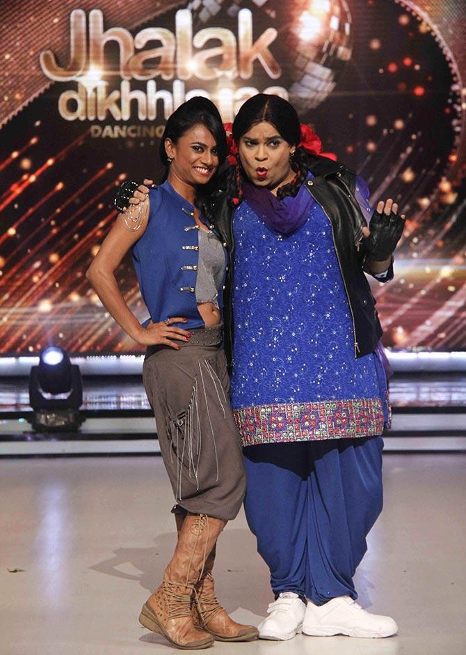 Kiku Sharda with choreographer Kruti on Jhalak Dikhhla Jaa