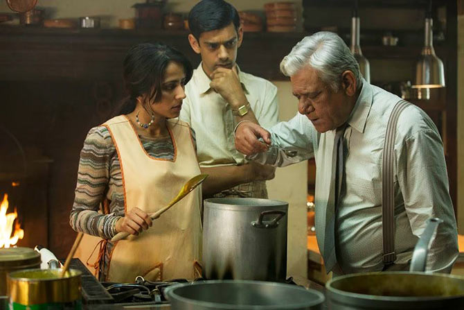 Farzana Dua Elahe, Manish Dayal and Om Puri in The Hundred-Foot Journey.