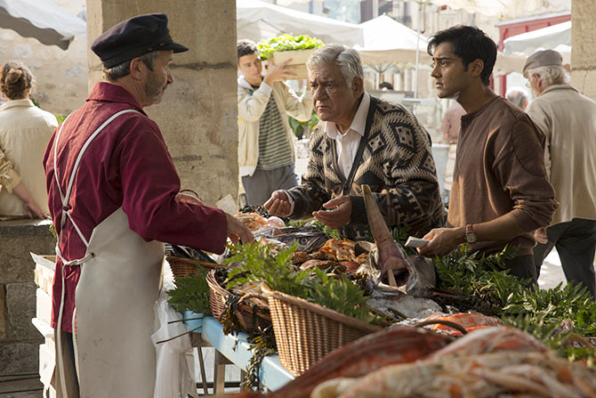 Manish Dayal and Om Puri in The Hundred-Foot Journey.