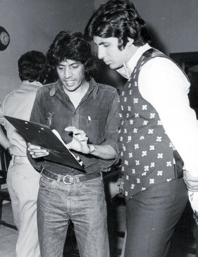 Chandra Barot and Amitabh Bachchan on the sets of Don