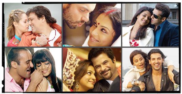 Clockwise from top, left: Govinda, Sohail Khan, Esha Koppikar, Priyanka Chopra, Salman Khan, Vidya Balan, John Abraham, Anil Kapoor, Juhi Chawla, Ayesha Takia and Akshaye Khanna in Salaam-e-Ishq