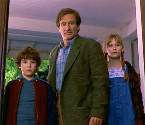 Bradley Pierce with Robin Williams and Kirsten Dunst in Jumanji