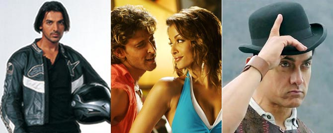 John Abraham in Dhoom, Hrithik Roshan and Aishwarya Rai Bachchan in Dhoom 2, Aamir Khan in Dhoom 3