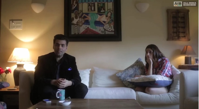 Karan Johar and Alia Bhatt in Alia Bhatt: Genius of the Year video by AIB