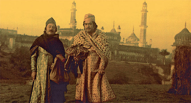 Saeed Jaffrey and Sanjeev Kumar in Shatranj Ki Khilari.