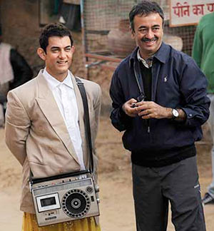 Aamir Khan and Rajkumar Hirani on the sets of PK