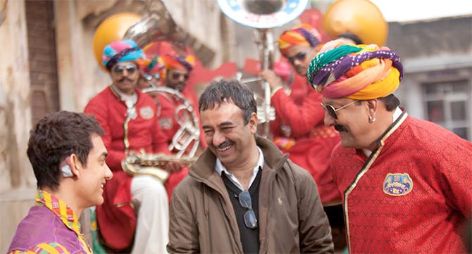 Aamir Khan, Rajkumar Hirani and Sanjay Dutt on the sets of PK
