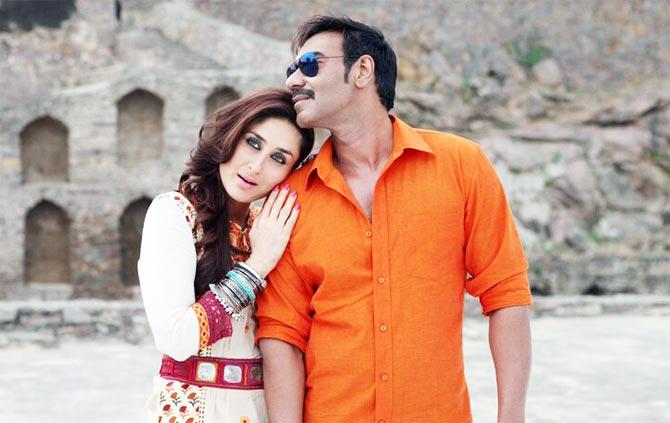 Kareena Kapoor and Ajay Devgn in Singham Returns