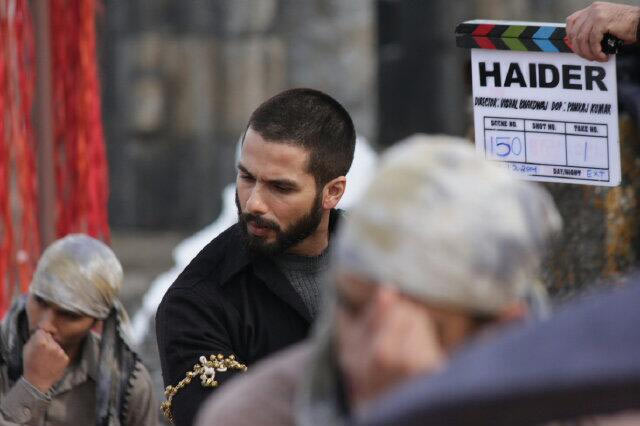 Shahid Kapoor on the sets of Haider