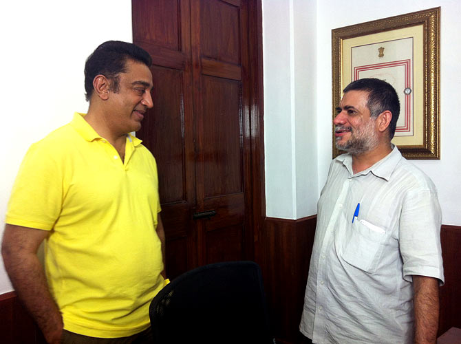 Karan Bali, right, with actor-filmmaker Kamal Haasan, who spoke about meeting Ellis R Dungan in the film