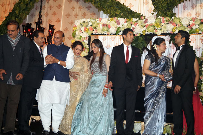 Rajnath Singh with the bridal family
