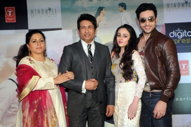 Shekhar Suman along with wife Alka, son Adhyayan and heroine Ariana Ayam
