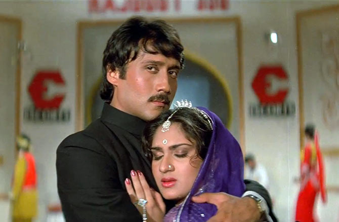 Jackie Shroff and Meenakshi Seshadri in Hero