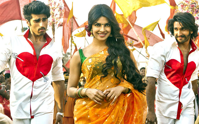 Arjun Kapoor, Priyanka Chopra and Ranveer Singh in Gunday.