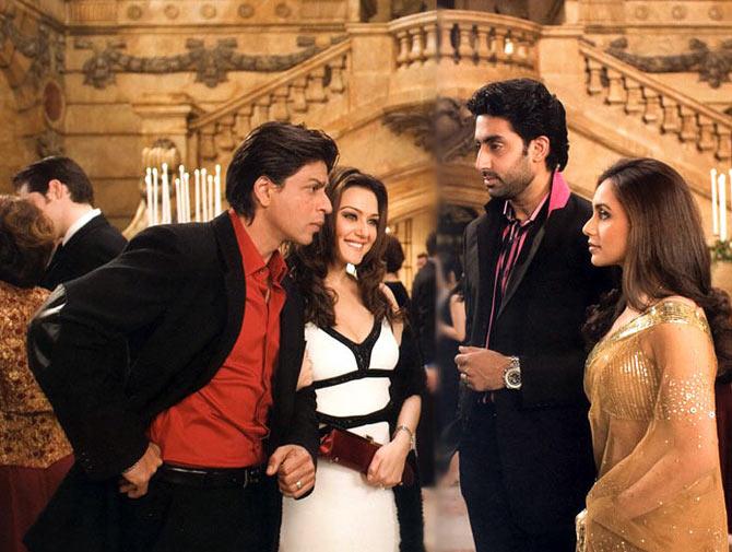 Shah Rukh Khan, Preity Zinta, Abhishek Bachchan and Rani Mukerji in Kabhi Alvida Naa Kehna