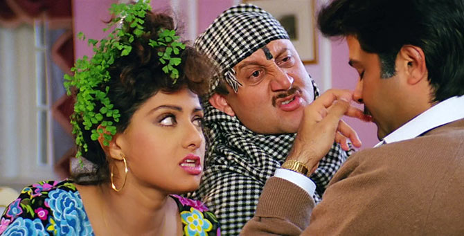 Sridevi, Anupam Kher and Anil Kapoor in Lamhe