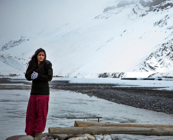 Alia Bhatt at Kaza when shooting for Highway.