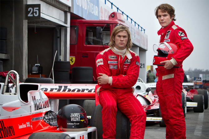 Chris Hemsworth and Daniel Bruhl in Rush