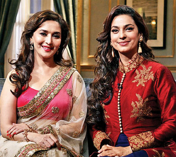 Juhi Chawla with Madhuir Dixit on Koffee With Karan