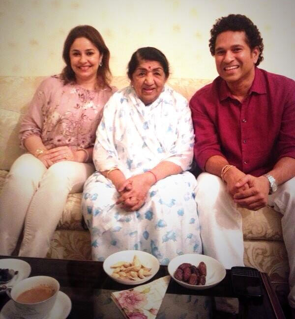 Lata Mangeshkar with Sachin and Anjali Tendulkar