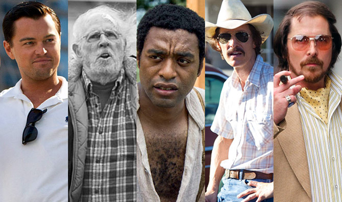 Leonardo DiCaprio in The Wolf Of Wall Street, Bruce Dern in Nebraska, Chiwetel Ejiofor in 12 Years A Slave, Matthew Mcconaughey in Dallas Buyers' Club and Christian Bale in American Hustle