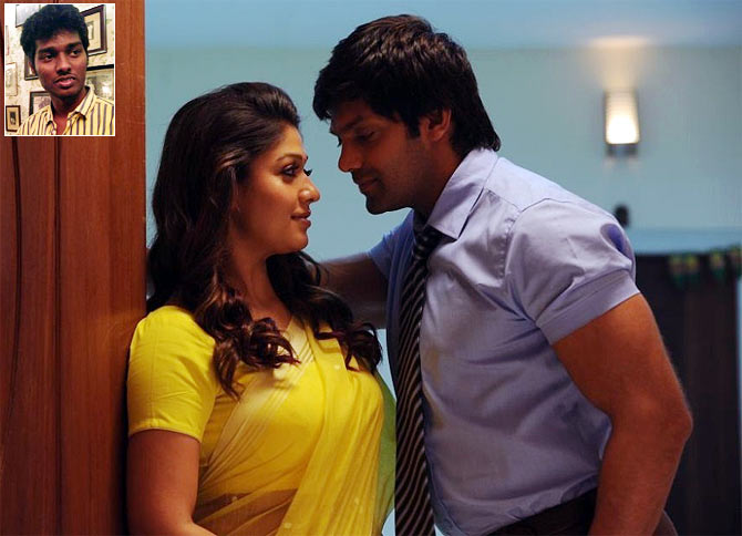 Nayanthara and Arya in Raja Rani. Inset: Director Atlee