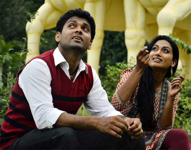 Rakshit Shetty and Swetha Srivastav in Simplagondu Love Story