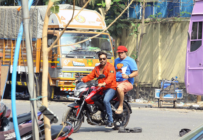 Ajay Devgn and Kunal Roy Kapur on the sets of Action Jackson