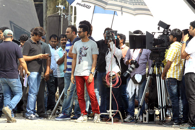 on the sets of Action Jackson