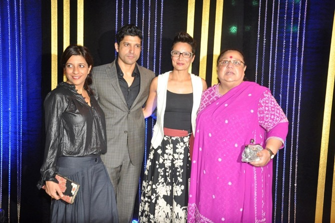 Farhan Akhtar with sister Zoya, wfie Adhuna and mum Honey Irani