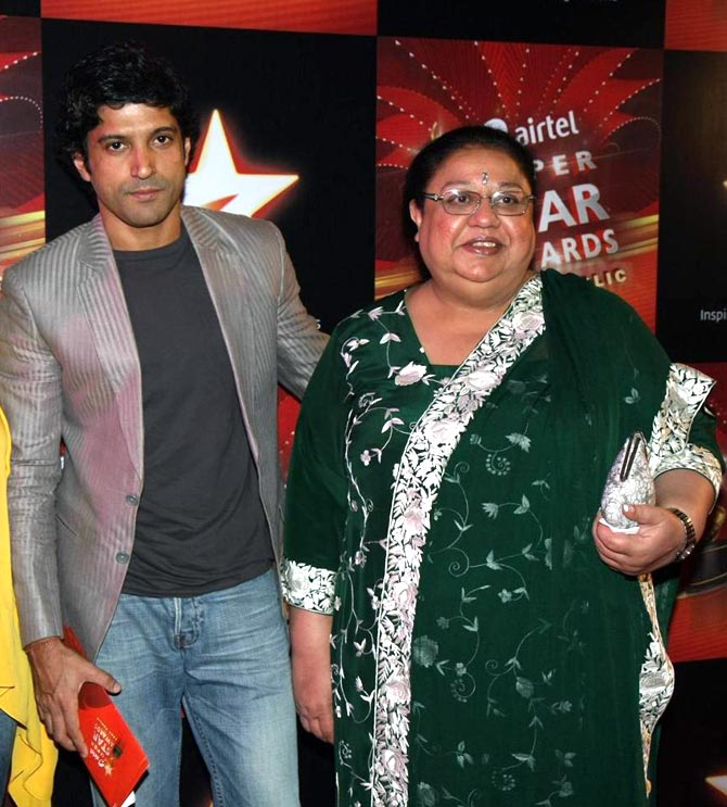 Farhan Akhtar and his mother Honey Irani