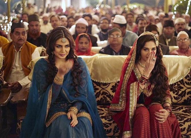 Huma Qureshi and Madhuri Dixit in Dedh Ishiqya